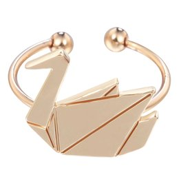 Wholesale 10pcs New Design Origami Goose Rings Charming Swan Rings Adjustable for Women Bague Femme