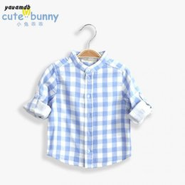 Wholesale-boys shirt 2016new arrive Spring Autumn brand clothing Cotton long sleeves baby Leisure collar grid joker shirts Y 59