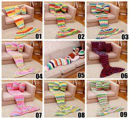 Wholesale 2016 Kids Mermaid Blankets Mermaid Tail Blankets Mermaid Tail Sleeping Bag Sofa Nap Air Condition Blankets Super Soft Bedroom Blankets