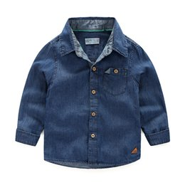 quality Fall baby clothes Long sleeve denim shirts Middle blue wholesale boy little middle Kids child Tops 2 3 4 5 6 7 8 years free shipping