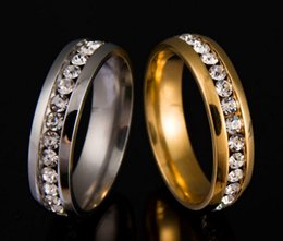 Brand New 50PCS Silver and Gold Mixed Lot One Row Rhinestone Stainless Steel Polished Band Jewelry Rings wholesale lot