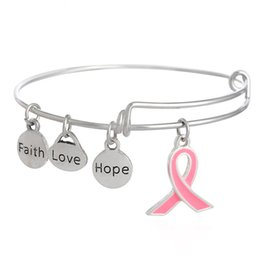 Wholesale Alex And Ani Antique Silver Enamel Pink Ribbon Dangle Faith Love Hope Charms Alex Style Bracelet and Fits Any Breast Cancer Awareness Events