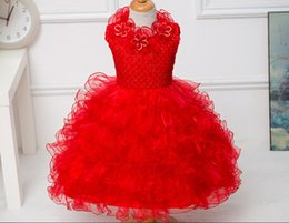 1 piece 2016 red sleeveless baby Girls' party Dresses Infant Princess Tutu Baptism Dresses, Girls Party wedding Christening Gown dresses