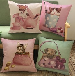 Pink Telephone Retro Dog Puppy Fairy Girls Dream Dress Up Decorative Pillow Home Case Cover Pillows Emoji Home Decor Kids Gift
