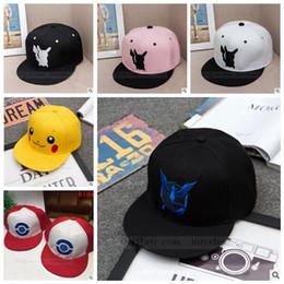 Wholesale Adult Poke Go Baseball Caps Kids Fashion Poke Hats Casual Pikachu Caps Poke Ball Snapbacks Hats Pocket Monster Hats Hip Hop Caps B728