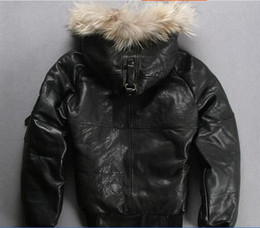 Wholesale AVIREX leather down jackets with fur hoody sports bomber down coats thicken sheepskin leather jackets