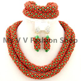 African Jewelry Set Nigeria Jewelery Sets green coral red Crystal Beads Wedding Necklace bracelet earrings Set brazilian gold filled jewelry