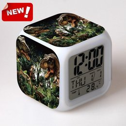 Wholesale Jurassic park LED Colour Changing Digital LCD Alarm Clock Thermometer Date Time Night Light