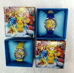 Wholesale 2016 Pikachu Wristwatches Children watch poke mon cartoon band set boxed watch Christmas gift box with box