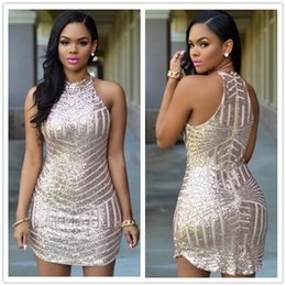 Wholesale European and American high end sexy strapless sequined mini package hip Slim sleeveless dress DFMD173 summer party dresses for women