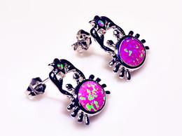 Wholesale & Retail Fashion Blue Pink Fine Fire Opal Earrings 925 Silver Plated Jewelry For Women EMT16042608