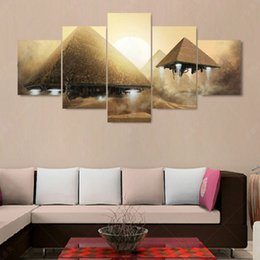 Wholesale 5 Piece Modern Canvas Art Pyramid UFO Canvas Oil Painting Art Cuadros Decoracion Wall Pictures For Living Room Pintura No Frame