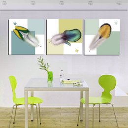 Unframed Home decoration 3 Pieces art picture free shipping Canvas Prints Feather rose tulips Chrysanthemum Abstract tree flower orchid