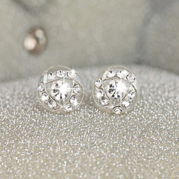 Wholesale Korean jewelry new Round drill special offer cheap shipping female fashion earrings Diamond Bridal Jewelry Earrings diamond
