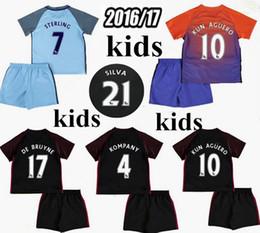 Wholesale customized name number Manchester rd home away kids jersey City KUN AGUERO STONES DE BRUYNE children shirts