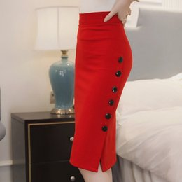 Wholesale 2017 New Fashion Autumn Red Pencil Skirts Womens Plus Size Black Midi Skirts Long Cotton High Waist Skirts FS0558