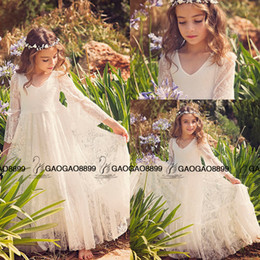 First Communion Dress Flower Girl White Lace Dress Boho-chic Lace dress for girls and toddlers Boho flower girl dresses