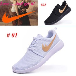 Wholesale 2016 Roshe Run Black white gold Running Shoes Men Women free run High Quality Discount Trainers Sport Shoes Size US