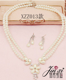 white color cystal pearl wedding bride lady's set necklace earings thmbb