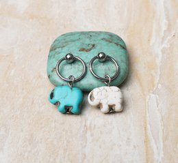 Wholesale 2Pcs New Turquoise elephant CBR Captive Bead Ring anchor hoop cartilage Hoop Earring Tragus Helix Piercing earring