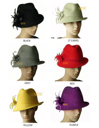 Wholesale NEW Wool felt hat with feather flower one side up brim best choice for winter black yellow wine grey red