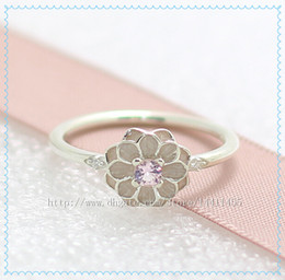 Fashion Jewelry Ring Women Ring European Style High-quality 100% 925 Sterling Silver Blooming Dahlia Ring with Pink Enamel and Crystal