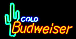 "Budweiser Cold CactusS Neon Sign Handmade Custom Real Glass Tube Store Beer Bar Sport KTV Club Advertising Display Neon Signs 17""X10"""