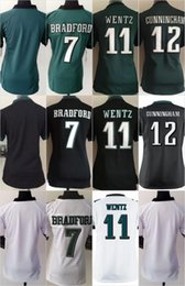 Wholesale Women Football Stitched Eagles Blank Bradford Carson Wentz Cunningham White Green Black Elite Jerseys Mix Order