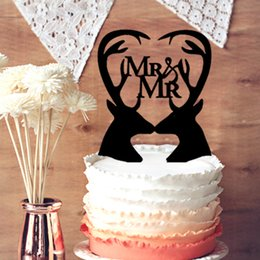 Wholesale Wedding Cake Toppers Customized Double Deer Silhouette with Script MR and MR in Heart Wedding Cake Topper Hunter Themed Cake Topper