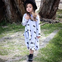 2016 Autumn Girls Clothes Long Sleeve Children Dress Baby Girls One-Piece Dresses Grey Mouse Girl Cardican Blouses T-Shirts Tops