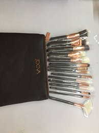 Wholesale New Zoeva Rose Golden Complete Set with Makeup Brushes in leather case Essential Face and Eye Brush Kit