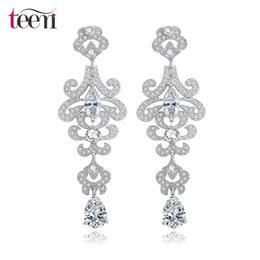 Wholesale Teemi Top Quality Female Luxurious Romantic Cubic Zirconia Diamond Bridal Long Chandelier Earrings Reseller