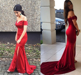 Cheap Backless Prom Dresses Mermaid Long Red Satin Side Split Sheer Dresses Off Shoulder Floor Length Formal Evening Party Gowns Custom Made