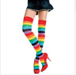 Wholesale Colorful Over Knee Socks - FREE thigh high socks stockings 2015 brand hot Rainbow stripe Colorful High Thigh Ladies Long Women over the knee Socks Stripey Stocking