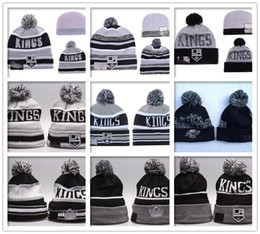 Wholesale 2016 Los Angeles Kings Beanies LA Winter Warm Cuffed Pom Ice Hockey Hat High Quality Grey Black Skullies Men s Knit Wool Hat