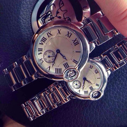 Wholesale 2016 Luxury watches Women Men Watch Roman Numerals Dial Couple Top Brand C Ballon Blue Stainless steel band Quartz Wristwatches Relojes gift