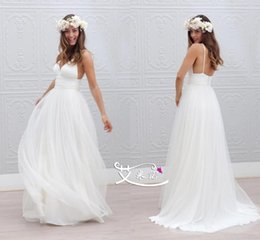 beach wedding dresses wedding dresses cheap Chiffon Beach White Ivory Wedding Dress Bridal Custom Size 2-4-6-8-10-12-14-16+