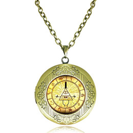 Wholesale Antique Locket Necklace Gravity Falls Bill Cipher Wheel Pendant Homestuck Jewelry Dipper Pines Necklace Picture Frame Glass Cabochon Lockets