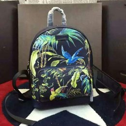 Wholesale The Black natural beauty of the Phoenix and the freedom of love to describe the bird and tropical plant design backpack