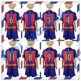 Wholesale 16 Kid s Top Quality Barcelona Soccer Suit Home Away Soccer Jersey MESSI SUAREZ A INIESTA ARDA Football Shirt with Shorts