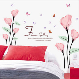 Wholesale Flower Gallery Wall Arts Stickers Home Decor Of Beautiful Large Pink Flowers Personality Backdrop Window Decorative Wall Decals Hot Sellings