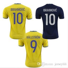 Wholesale 2016 Jersey Sweden Zlatan Ibrahimovic Sebastian Larsson Kim Kallstrom Berg Home Away Soccer Jersey size extra small XXL xl Stitched