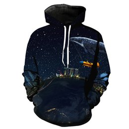 Free Shipping US Size M-5XL High Quality Fall New Digital Printing Customized 3D City Sky Hooded Sweatshirt Sweater