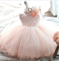 Wholesale 2017 Cute Flower Girls Dress Summer Fashion Pink Lace Big Bow Party Tulle Flower Princess Wedding Dresses Baby Girl Tutu dresses MC0282
