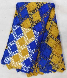 Most popular yellow and royal blue block pattern water soluble guipure lace african cord lace fabric for party clothing BW101-7