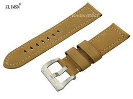 Watch Bands 24mm MEN Yellow Top Grade Handmade Thick Genuine Leather Watch Band Strap