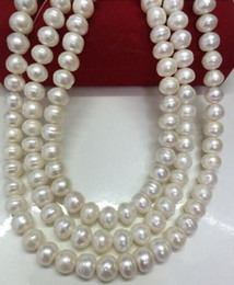 Triple strands 10-11mm south sea baroque white pearl necklace 17 inch 18inch 19inch 14K gold clasp