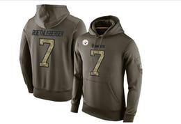 Services de l'équipe en Ligne-Hommes Salut To Service Hoodie Pullover # 7 Big Ben Oilve Couleur Taille S - XXXXL Football Hoodies Mix Match Ordre de haute qualité chandails