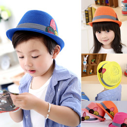 New Summer Spring Label Children Soft Fedora Panama Hats Fashion Outdoor Boys Girls Kids Stingy Brim Caps Belt Top Hats Jazz Cap KIDS-11