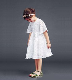 Wholesale Short Sleeved Ball Wedding Gowns - Baby Kids Clothing Girls Dresses Beach wedding gowns summer white One Piece Lace hollow out a short-sleeved dress 375